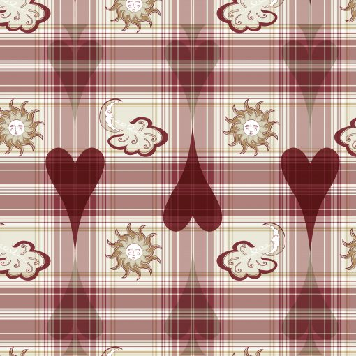 "Lovely Near; Print Patterns in a big scale. Main color: red. A tartan print with magical drawings of hearts, spades, the moon & the sun. Repeat dimensions: 42.3""x44.6"" / 107,3cm x 113,2cm"