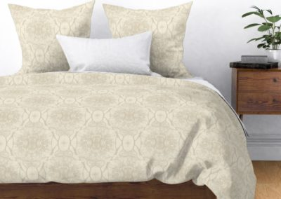 Bedding, duvet and pillow cover with dream branches print design in pristine color play (off-white/creme)